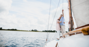 Retired couple on a boat
